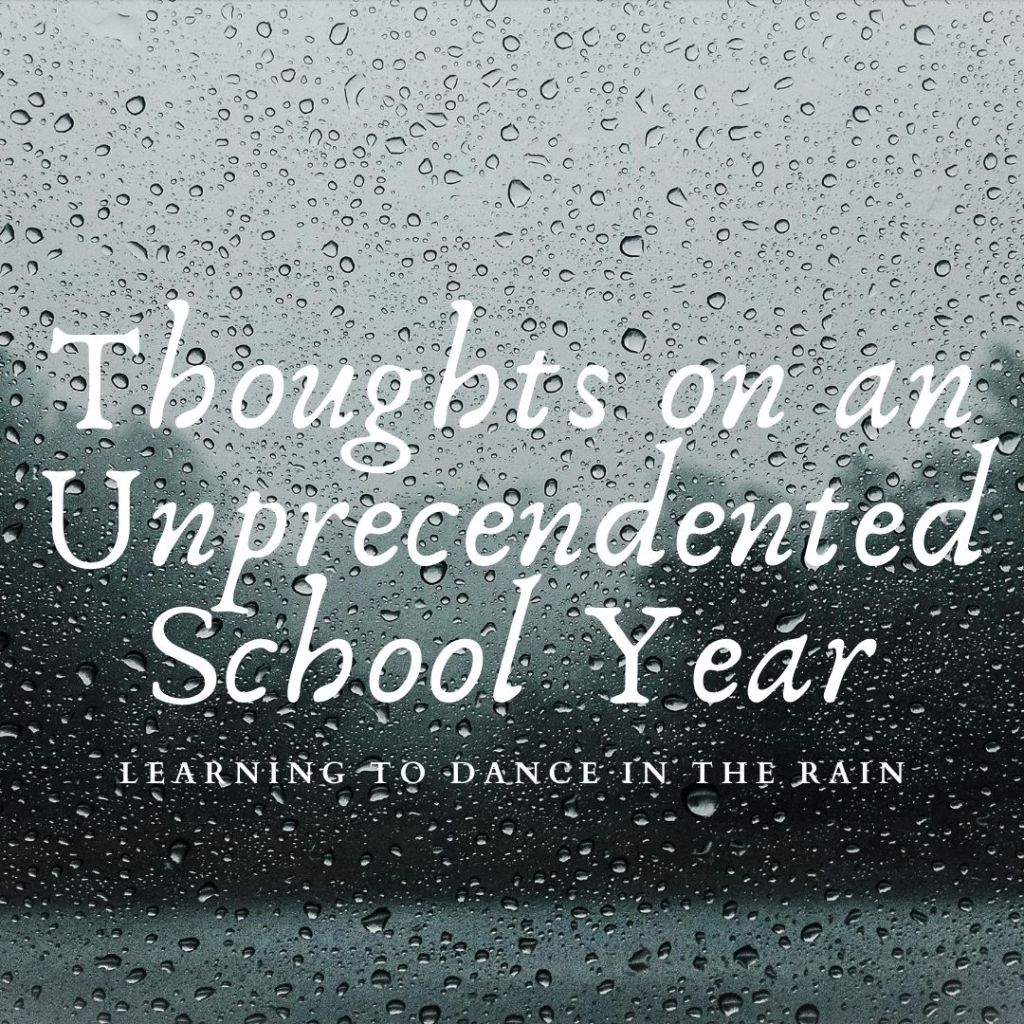 Raindrops with tree landscape in background. Text reads: Thoughts on an Unprecedented School Year: Learning to Dance in the Rain